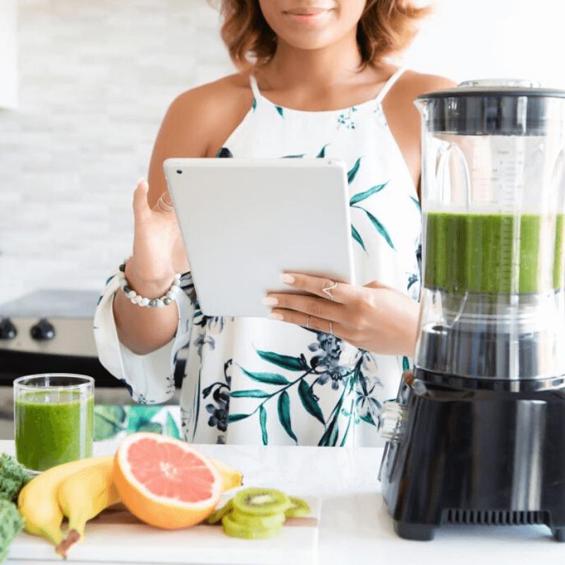 Woman Browsing Tablet | Carbon Blush
