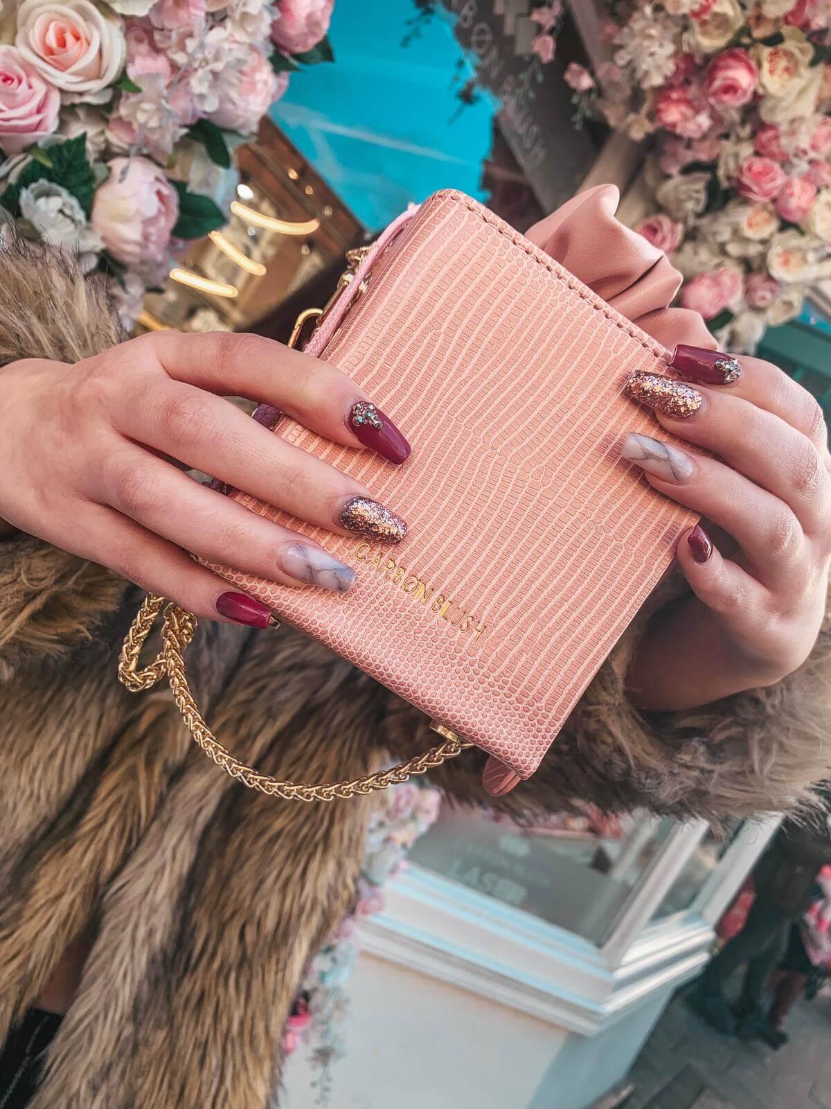 Box Clutch Handbag | Carbon Blush